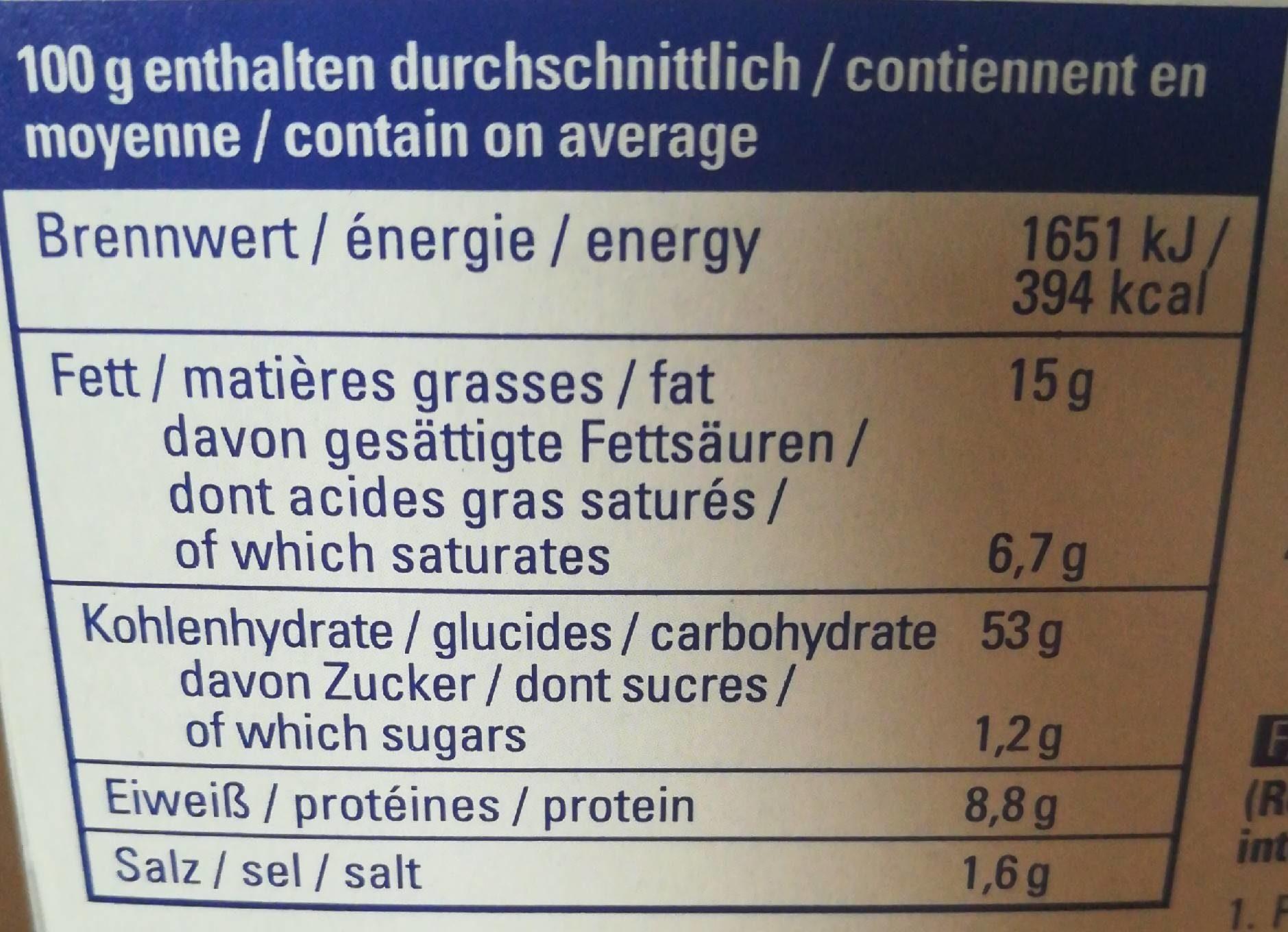 Popcorn salé pour micro-ondes - Informations nutritionnelles - fr