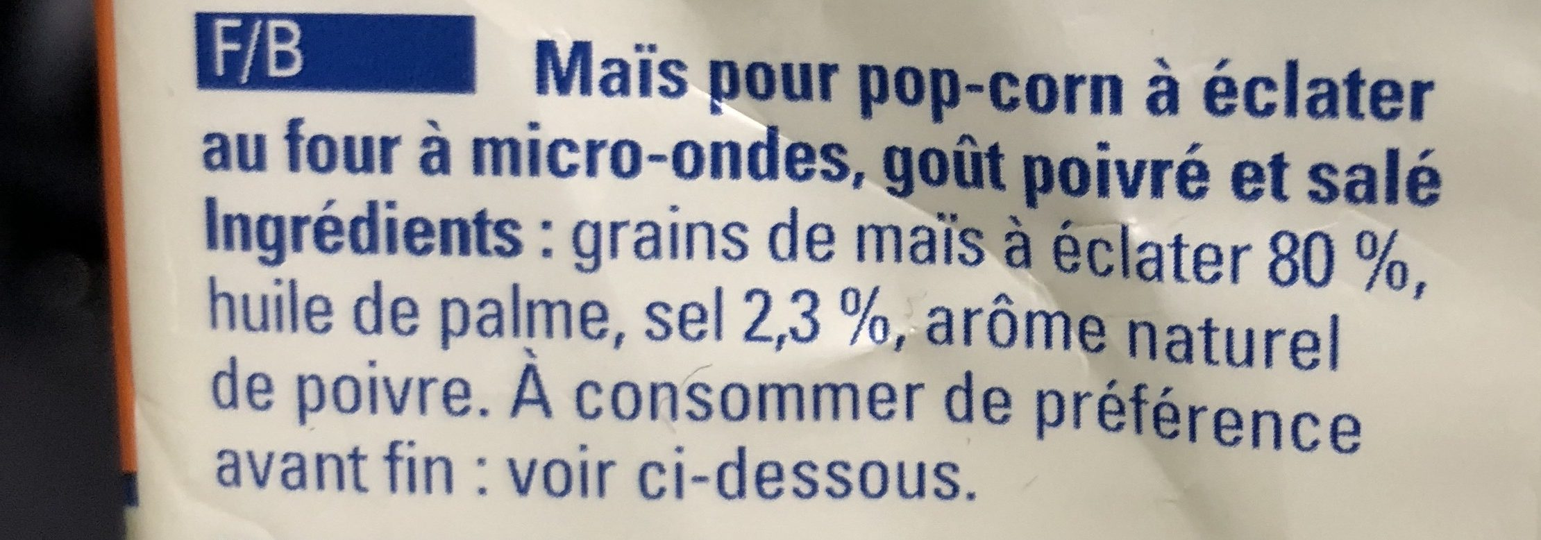 Seeberger Mikrowellen-Popcorn mit Salz-Pfeffer-Geschmack - Ingrédients - fr