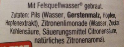 Krombacher Radler - Ingrediënten - de