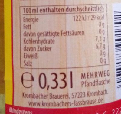 Fassbrause Zitrone - Voedingswaarden