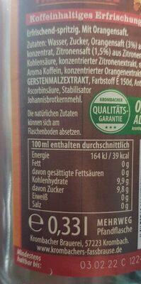 Krombracher's Fassbrause Cola&Orange - Nährwertangaben - de