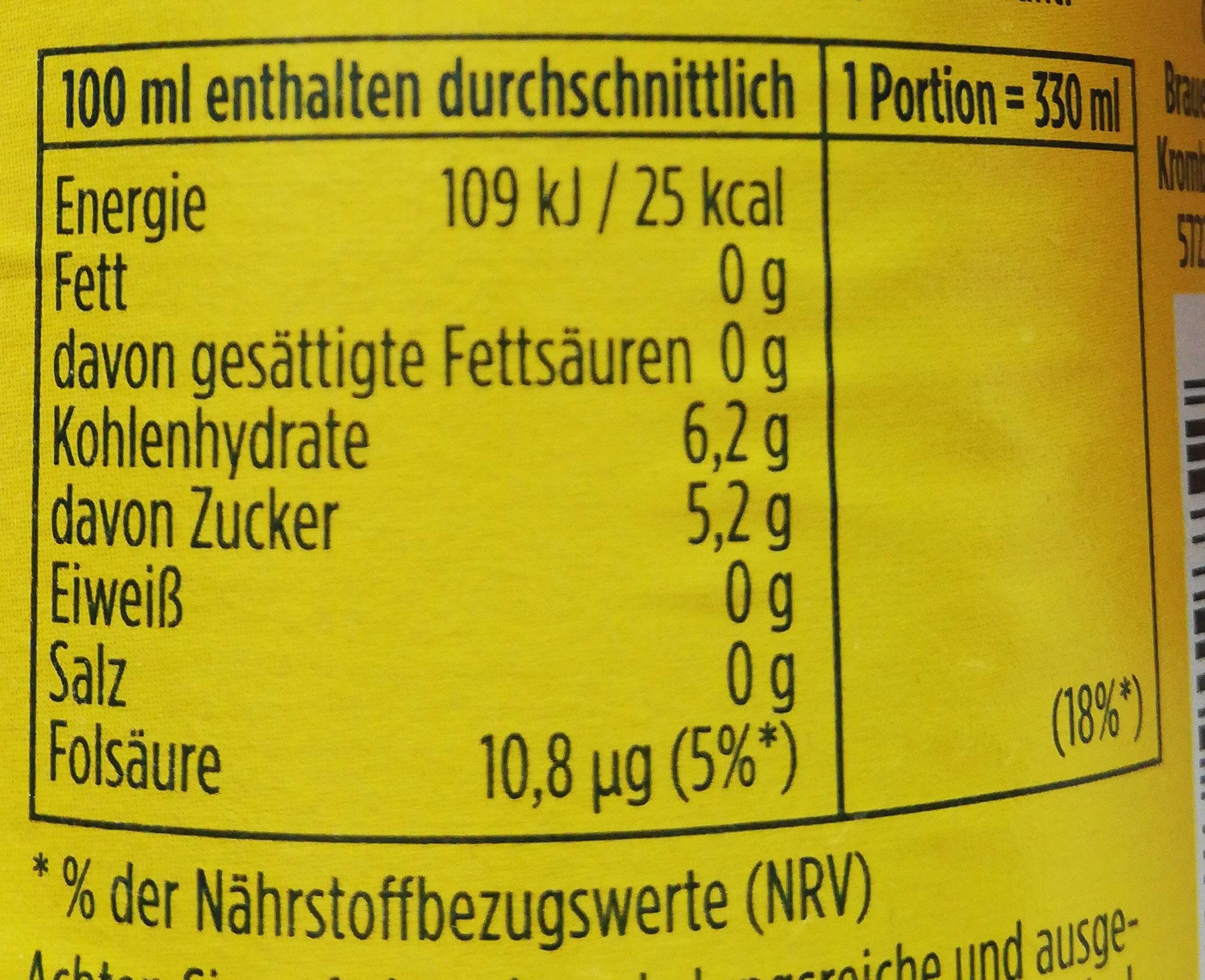 Krombacher 0,0% - Nährwertangaben - de