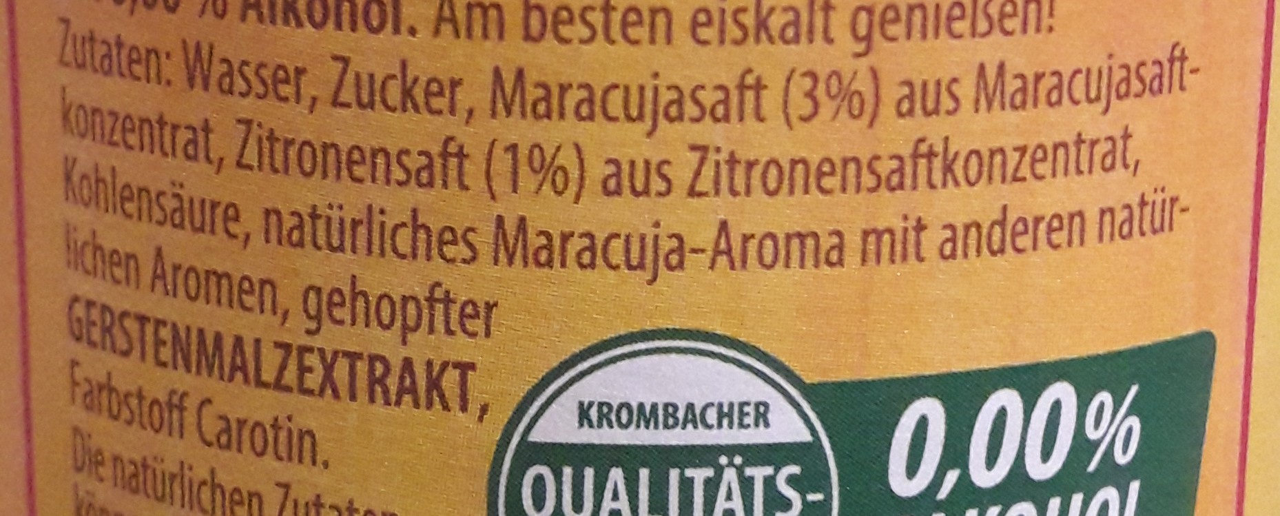 Krombacher's Fassbrause Maracuja - Ingredienti - de