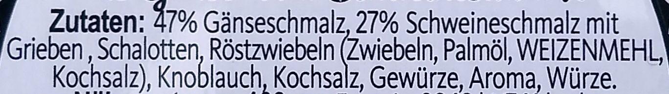 Hubertus Schmalz aus Gänse- und Schweineschmalz - Zutaten - de