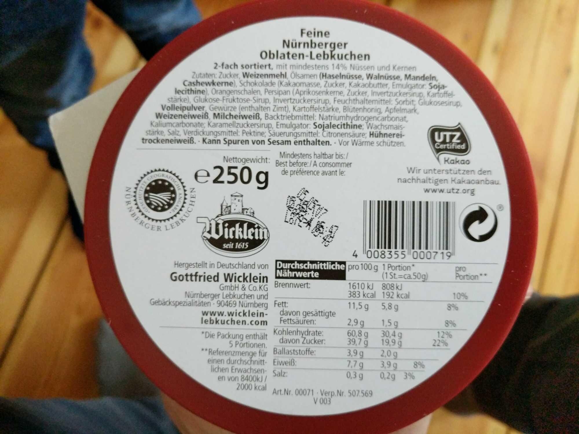 Feine Nürnberger Oblaten-Lebkuchen - Product