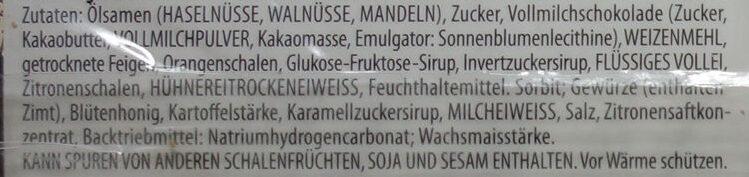 Elisen Lebkuchen mit Vollmilch-Schokolade - Zutaten - de
