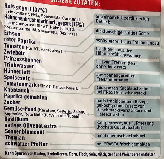 Hähnchen Paella - Ingrédients - de