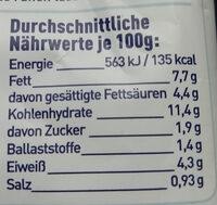 Tortellini Käse-Sahne - Nutrition facts - de
