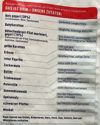 Reis Hähnchen Pfanne - Inhaltsstoffe