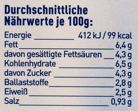 Rahm Gemüse bunte Karotten & Erbsen - Informations nutritionnelles - de