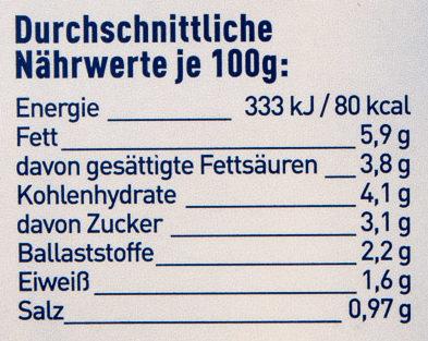 Rahm Königsgemüse - Nutrition facts