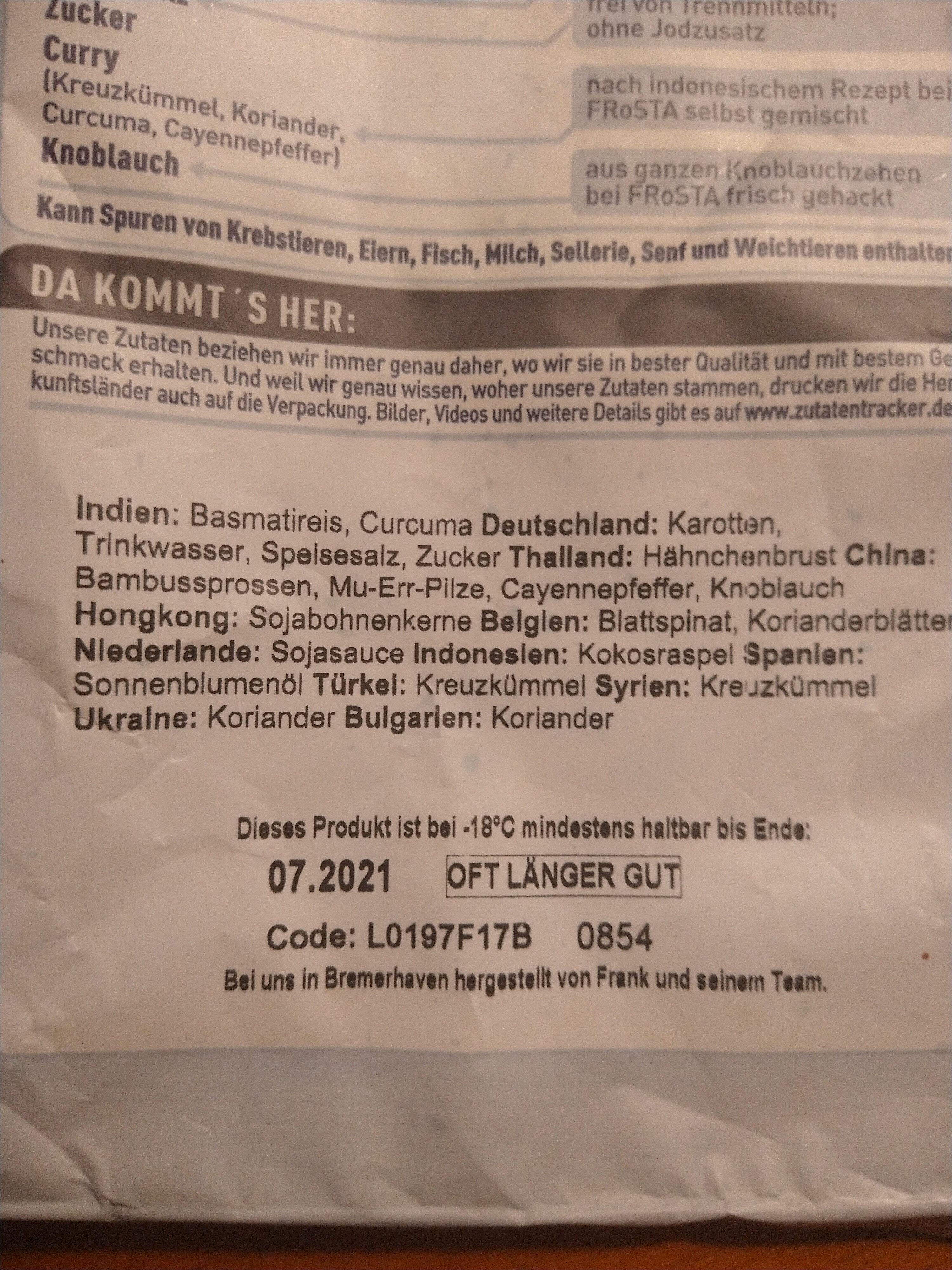 Indonesia Hähnchen mit Basmatireis - Inhaltsstoffe - de