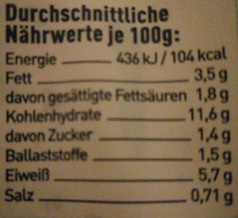 Fettuccine Wildlachs - Nährwertangaben - en