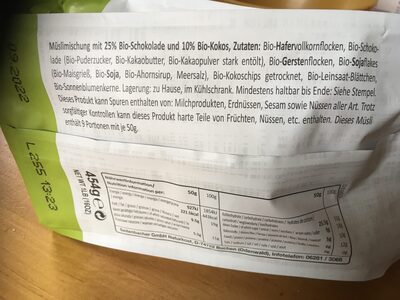 BIO MUESLI SCHOKO & KOKOS - Ingredienti - de