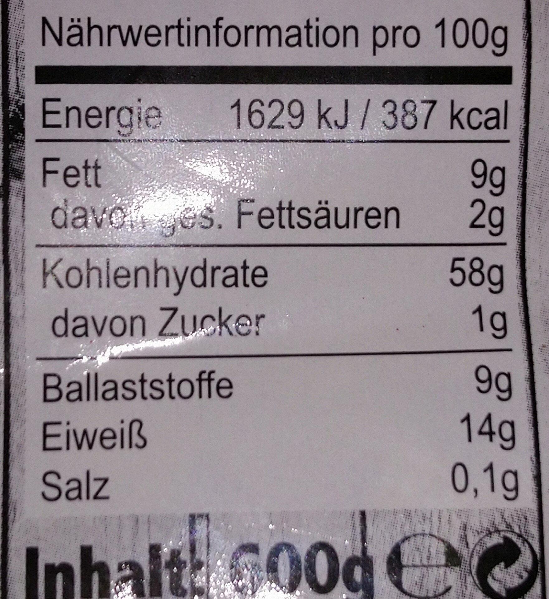 Müsli zuckerarm - Valori nutrizionali - de
