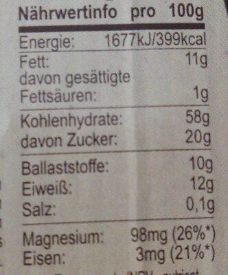 Pekan + Ananas Müsli - Valori nutrizionali - de
