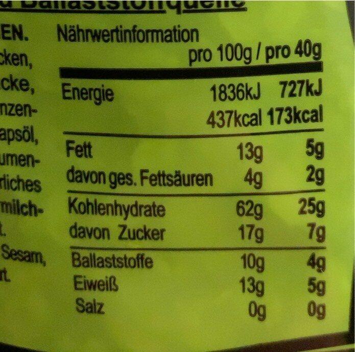 Apfel Zimt Müsli, Apfel - Valori nutrizionali - de