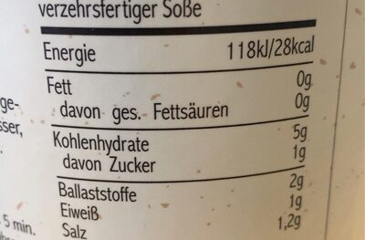 Braune Seitenbacher Soße - Valori nutrizionali - en