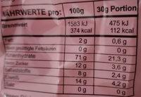 Düsis Dinkel-Knabber-Spezialität - Nutrition facts