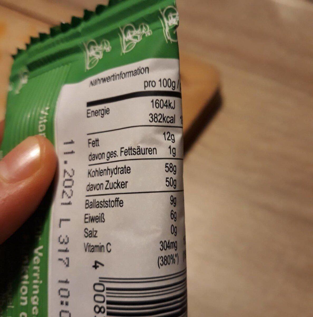 Saurer Apfel Riegel - Valori nutrizionali - en
