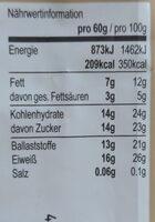 Protein-Riegel - Valori nutrizionali - en