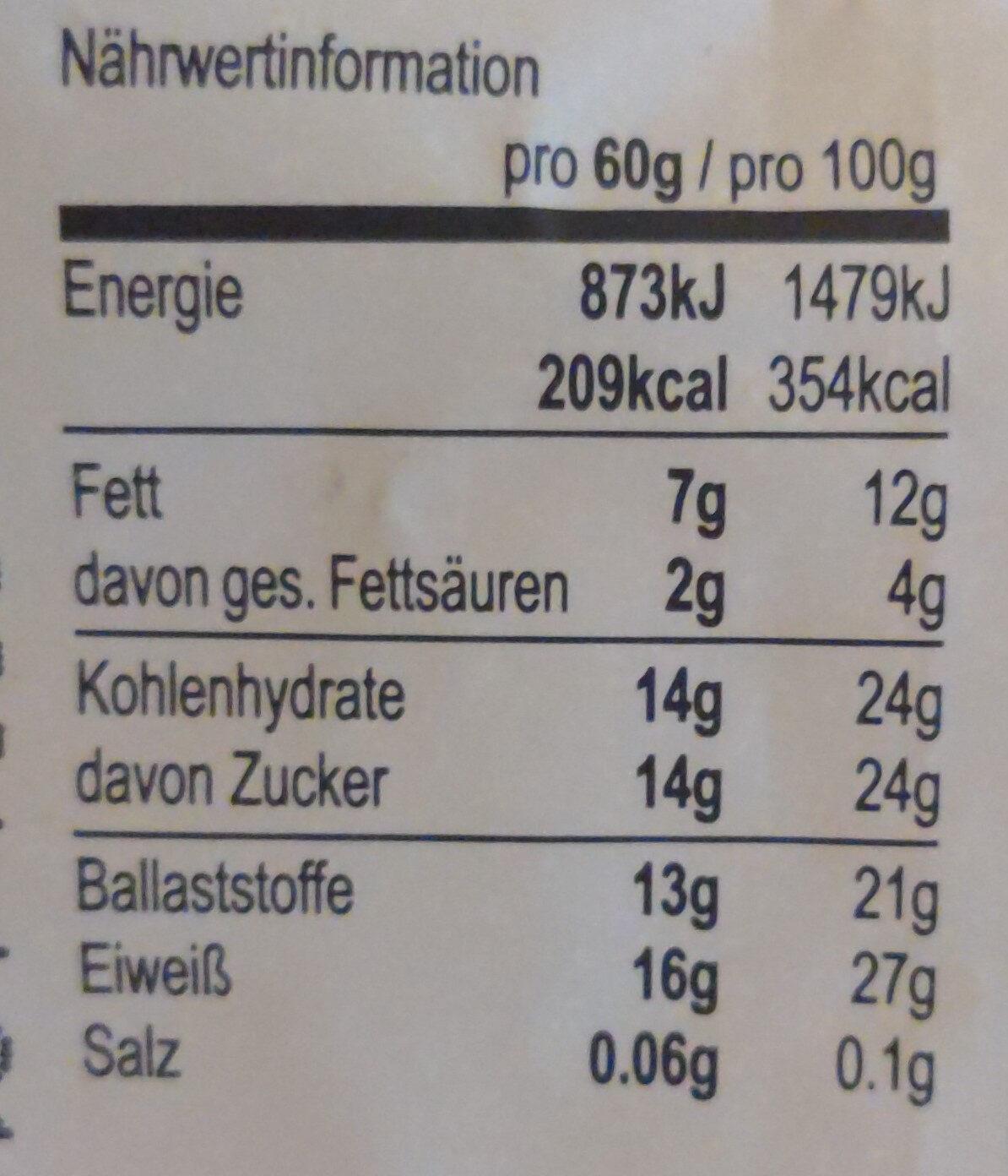 Seitenbacher - 60G - Nutrition facts