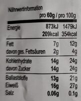 Seitenbacher - 60G - Valori nutrizionali - en