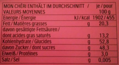 Mon Chéri - Valori nutrizionali - fr