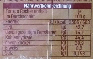 Ferrero Rocher - Voedigswaarden