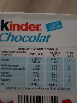 Kinder chocolat - chocolat au lait avec fourrage au lait 12 barres - 4