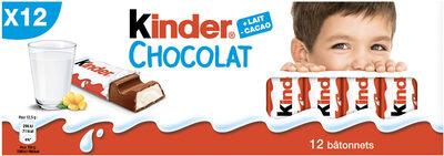 Kinder chocolat - chocolat au lait avec fourrage au lait 12 barres - Product