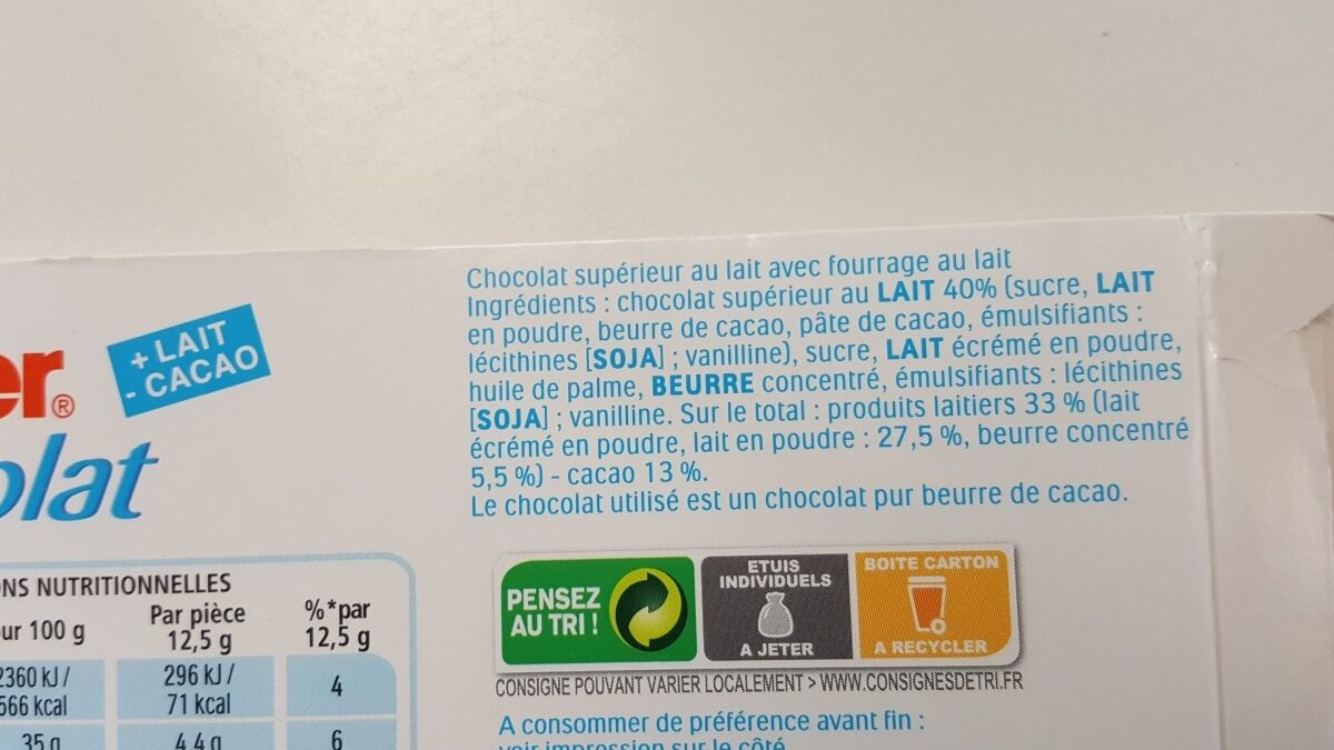 Kinder chocolat - chocolat au lait avec fourrage au lait 12 barres - Ingredients - fr