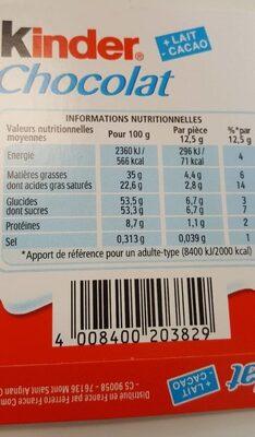 Kinder chocolat - chocolat au lait avec fourrage au lait 12 barres - Nutrition facts - fr