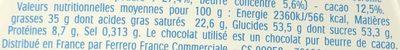 Mini Kinder Chocolat - Valori nutrizionali - fr
