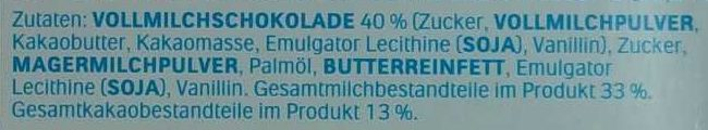Kinder Schokolade - Inhaltsstoffe - de