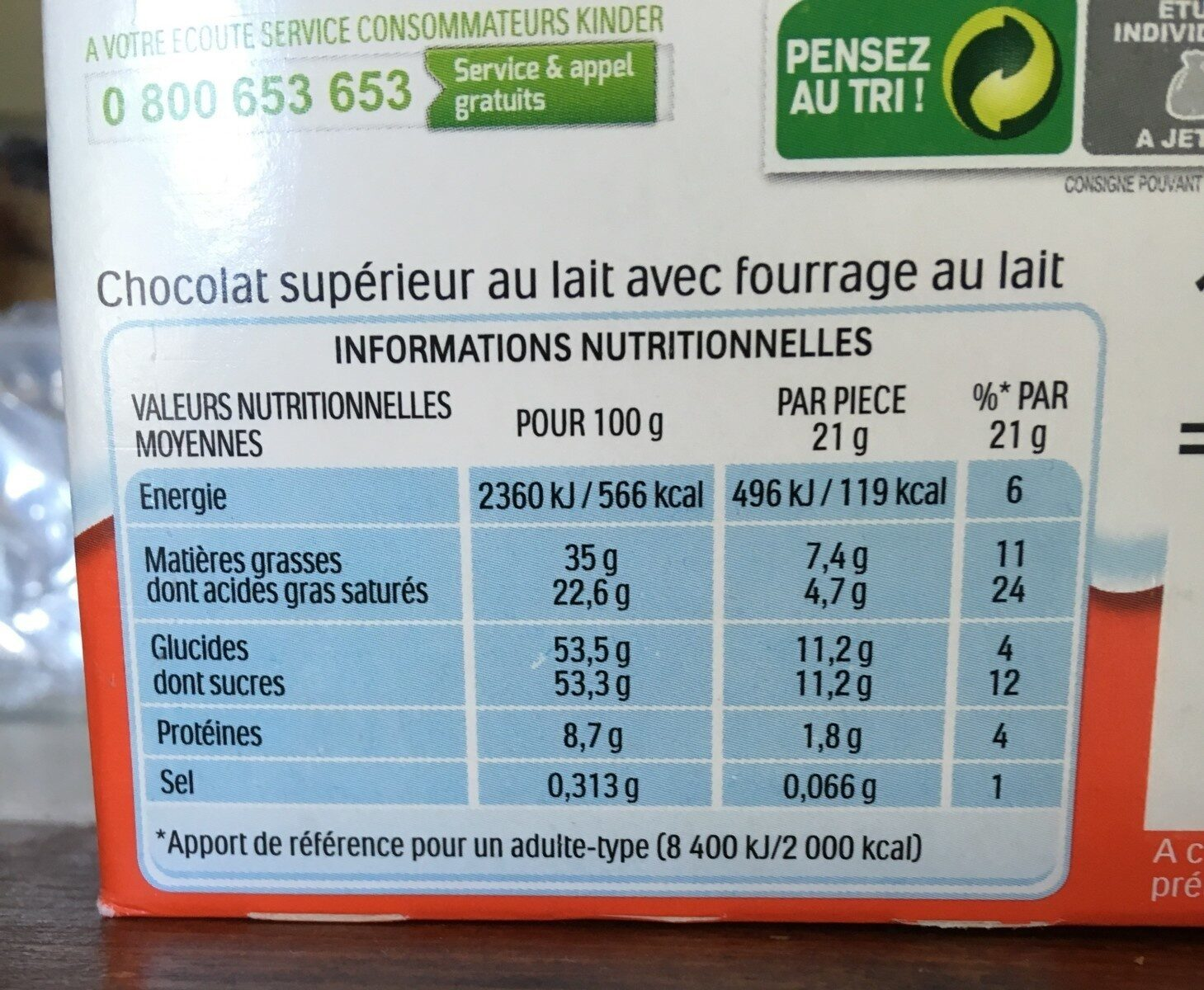 Kinder maxi barre chocolat au lait avec fourrage au lait 10 barres - Nutrition facts - fr
