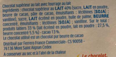 Kinder Maxi 5 barres - Ingrediënten - fr