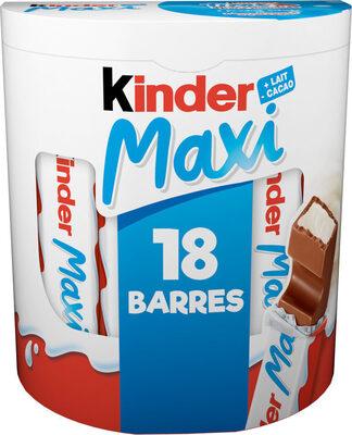 Kinder maxi barre chocolat au lait avec fourrage au lait 18 barres - Prodotto - fr