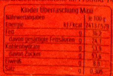 Kinder überraschung Maxi FüR Mädchen 100G - Valori nutrizionali - de