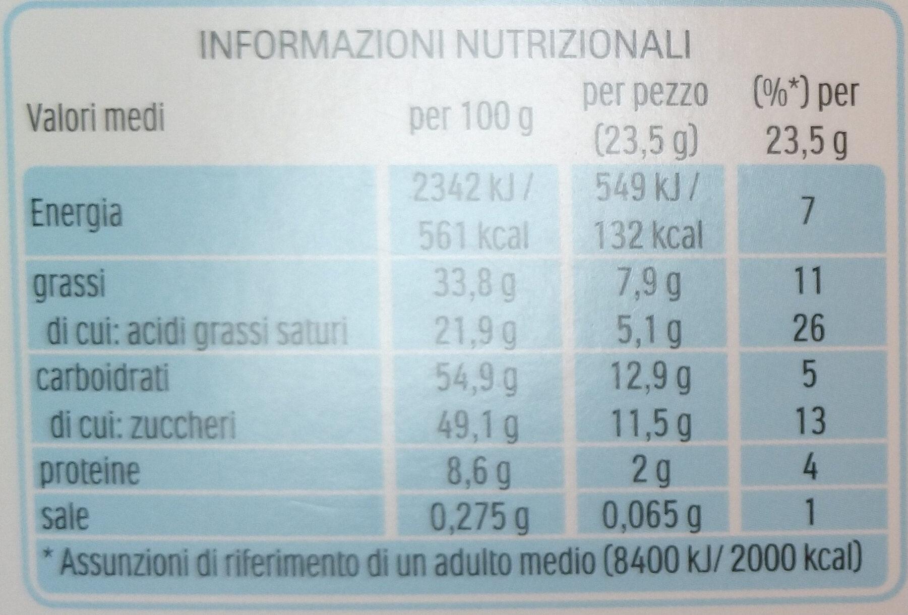 Kinder country barre de cereales enrobee de chocolat 9 barres - Informazioni nutrizionali - it