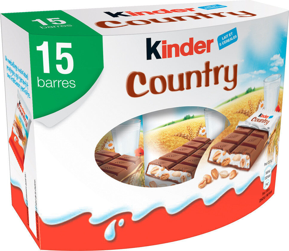 Kinder country barre de cereales enrobee de chocolat 15 barres - Prodotto - fr