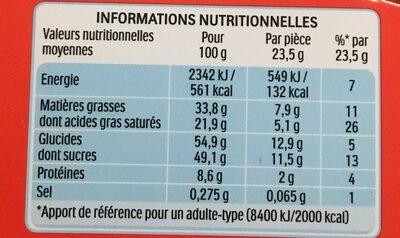 Kinder country barre de cereales enrobee de chocolat 15 barres - Informazioni nutrizionali - fr