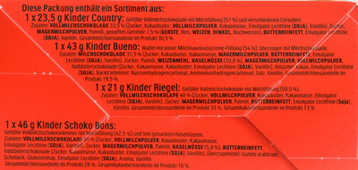 Kinder Maxi Mix - 133g - Ingrediënten - de