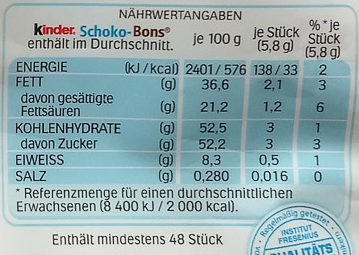Schoko-Bons - Nutrition facts