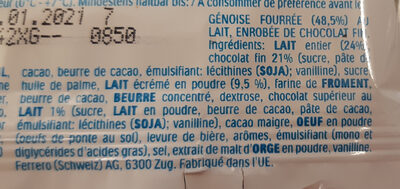 Kinder pingui chocolat etui t1 2021 - Ingredients - fr