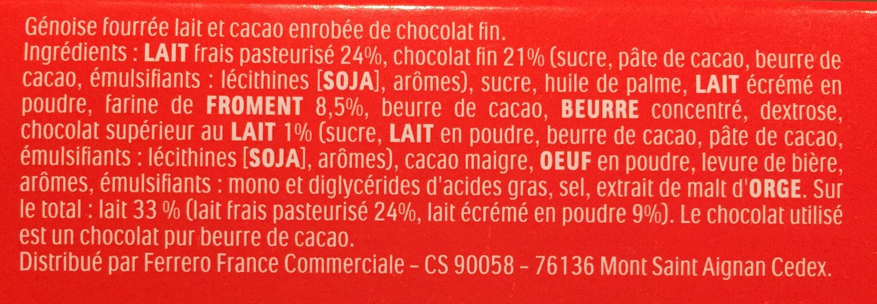 Kinder Pingui Chocolat - Ingredientes
