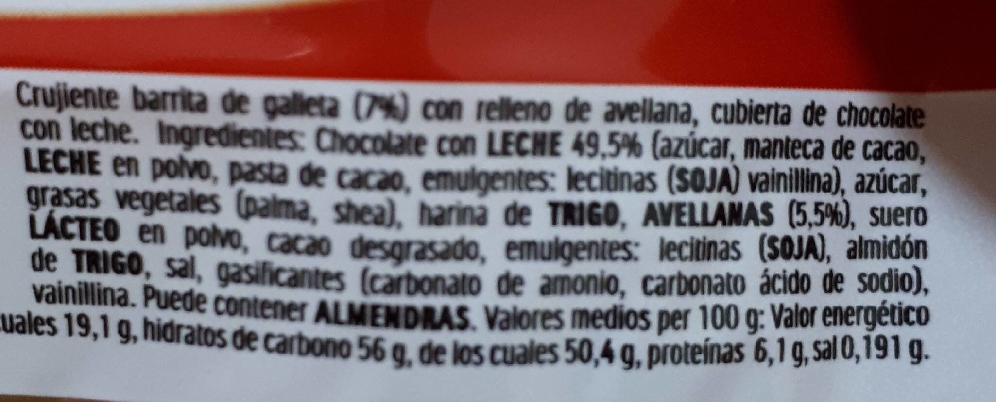 Ferrero Duplo choco stick - Nutrition facts - es