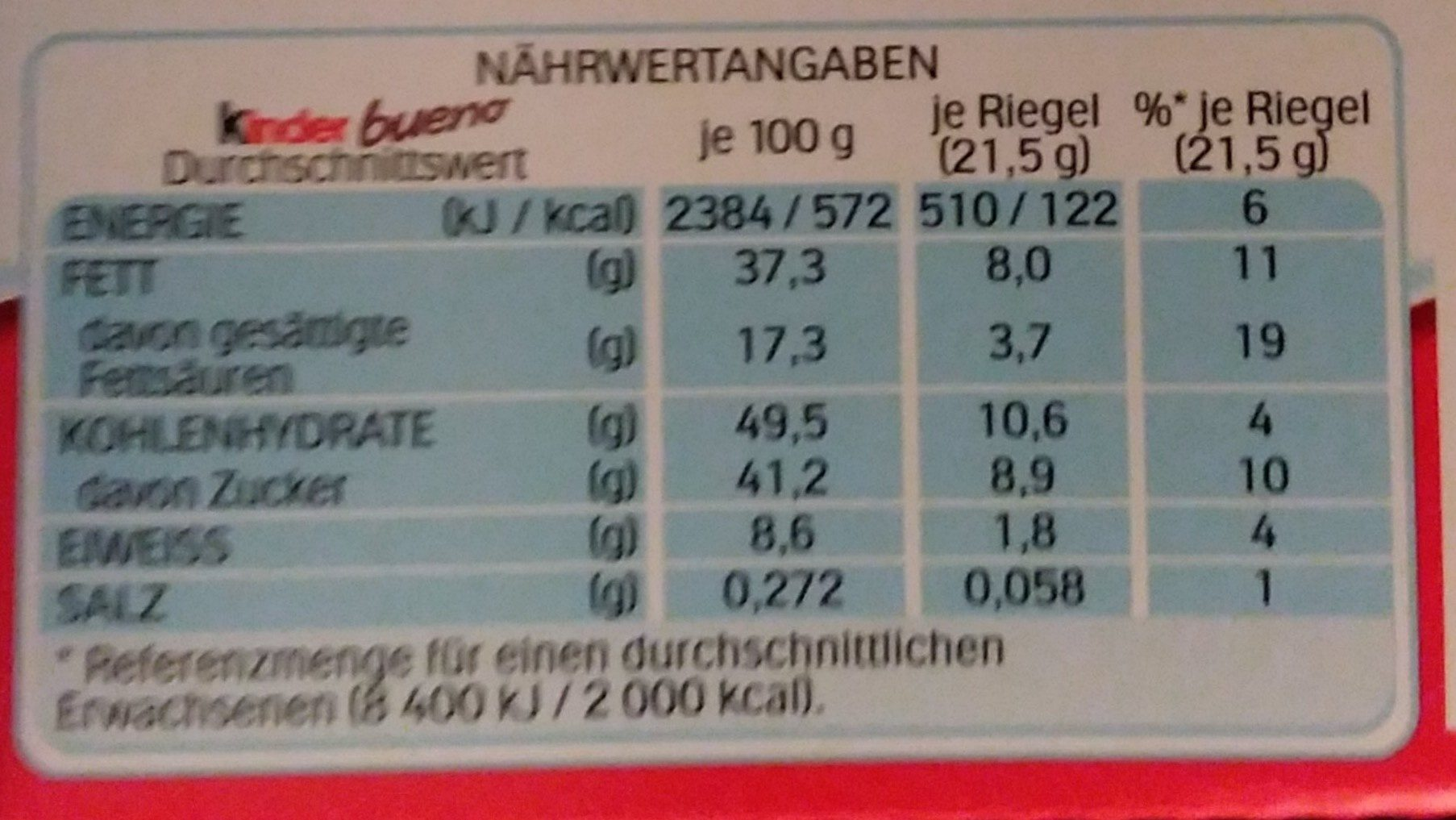 Kinder Bueno +2 Gratis - Valori nutrizionali - de