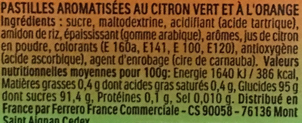Tic Tac goûts Citron Vert & Orange - Nutrition facts