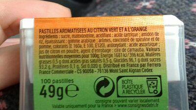 Bonbons tic tac goûts orange-citron vert - Valori nutrizionali - fr